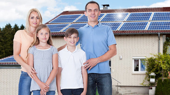 happy family with solar on roof for energy solar